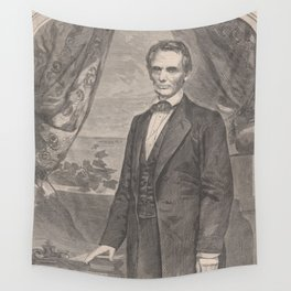 Vintage Abraham Lincoln Illustrative Portrait (1860) Wall Tapestry