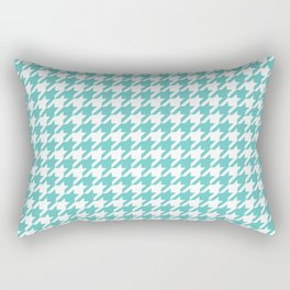 Turquoise Blue Houndstooth Pattern Design Rectangular Pillow
