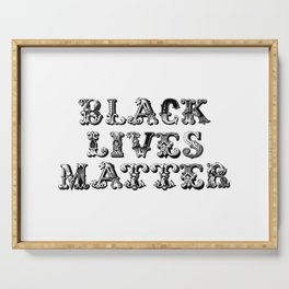 Black Lives Matter Mixed Antique Font BLM Typeface Protest Name Text Serving Tray