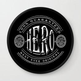 100% Hero (white 3D effect badge on black) Wall Clock