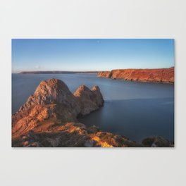Rugged Three Cliffs Bay and the Great Tor Canvas Print