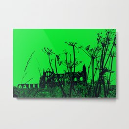 Whitby Abbey in Green Metal Print