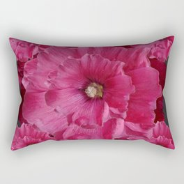 FUCHSIA-PINK  DOUBLE  HOLLYHOCK FLOWERS GARDEN Rectangular Pillow