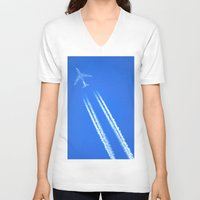 airplane V-neck T-shirts featuring Airplane by Uldis Ķēniņš