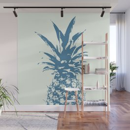 Half Blue Pineapple duo tone vector Wall Mural