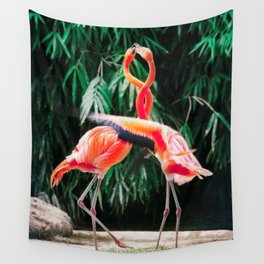 Flamingo Dance (Color) Wall Tapestry