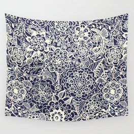 Lace on Nautical Navy Blue Wall Tapestry