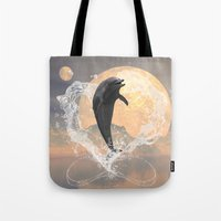 dolphin Tote Bags featuring Dolphin by nicky2342