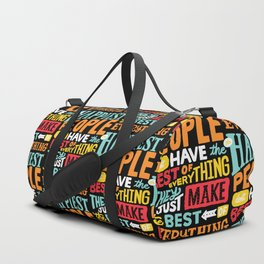 THE HAPPIEST PEOPLE x typography Duffle Bag