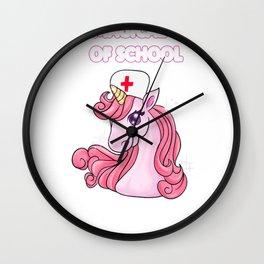 100 Days of School Nurse TShirt Nursing Unicorn Gift Wall Clock