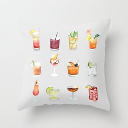 Classic Watercolor Cocktails Drinks Throw Pillow