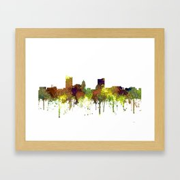 Fort Wayne, Indiana Skyline SG - Safari Buff Framed Art Print