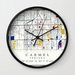 Carmel Indiana Map with GPS location Wall Clock