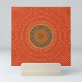 Vintage Orange Turquoise Pattern Mandala Mini Art Print