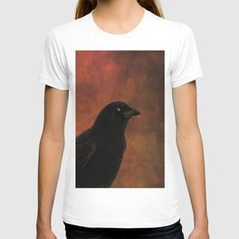 Crow Portrait In Black And Orange T-shirt