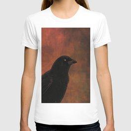 Crow Portrait In Black And Orange T-shirt