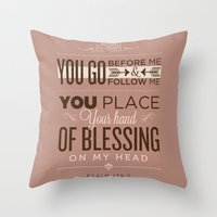 bible verses Throw Pillows featuring Psalm 139:5 Bible Verses by Tony D'Amico