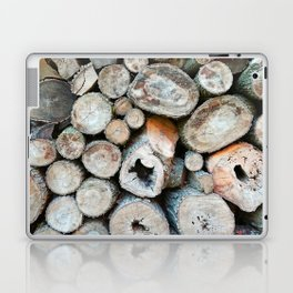 Rustic Beige Brown Logs on Woodpile Laptop & iPad Skin