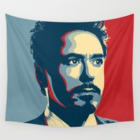 tony stark Wall Tapestries featuring Tony Stark by Cadies Graphic