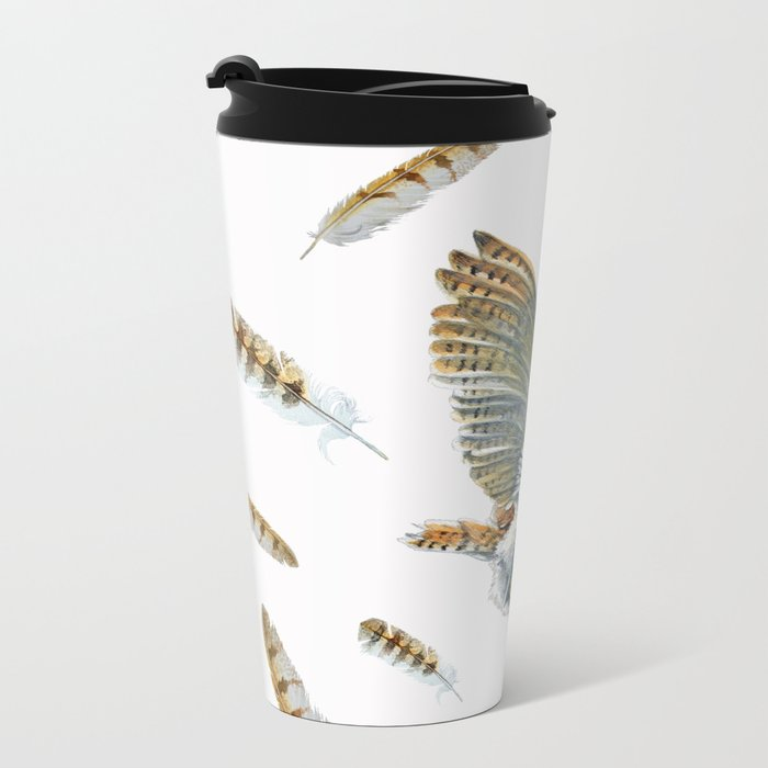 Barn Owl Landing  Metal Travel Mug