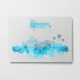 Albuquerque Monochrome Blue Skyline Metal Print