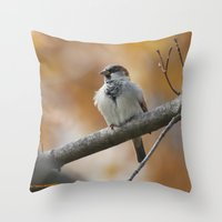 sparrow Throw Pillows featuring Sparrow by Tammi Hofstetter