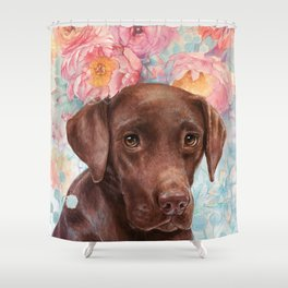 Flowers and Chocolate (chocolate lab dog watercolor portrait painting) Shower Curtain