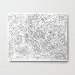 Illustration Comic: Black & White Metal Print