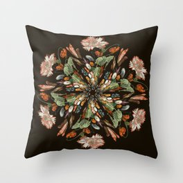 Flemish Floral Mandala 3 Throw Pillow