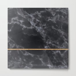 BLACK MARBLE GOLD STRIPE Metal Print