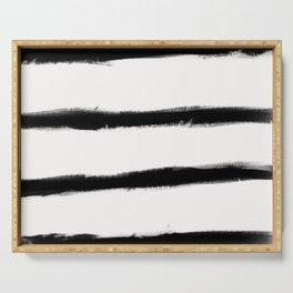 Medium Brush Strokes Horizontal Black on Off White Serving Tray