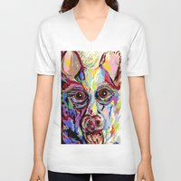 german shepherd V-neck T-shirts featuring German Shepherd by EloiseArt
