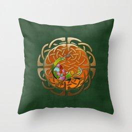 Peacock Celtic Deco Throw Pillow
