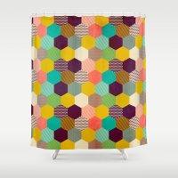 hexagon Shower Curtains featuring Fun Hexagon by Louise Machado