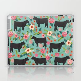 Show Steer cattle breed floral animal cow pattern cows florals farm gifts Laptop & iPad Skin