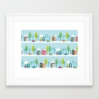 ski Framed Art Prints featuring Ski house by Polkip