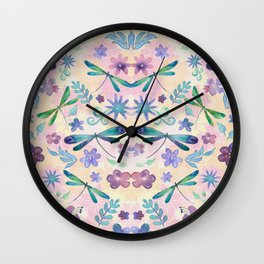 Dragonflies and Flowers Watercolor Pattern Spring Background Wall Clock