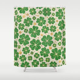 Lucky Shamrock Four-leaf Clover Pattern Shower Curtain