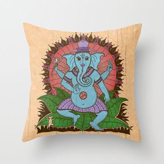 peace ganesh Throw Pillow