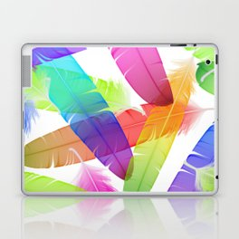 Colorful seamless feather vector pattern Laptop & iPad Skin