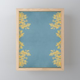 Mustard and Gold Leaves on Teal Blue Framed Mini Art Print