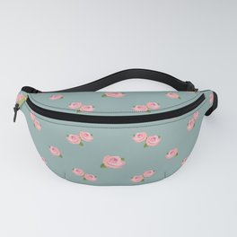 Pink Roses Repeat Pattern on Teal Fanny Pack