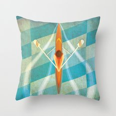 The Serenity of Sculling Throw Pillow