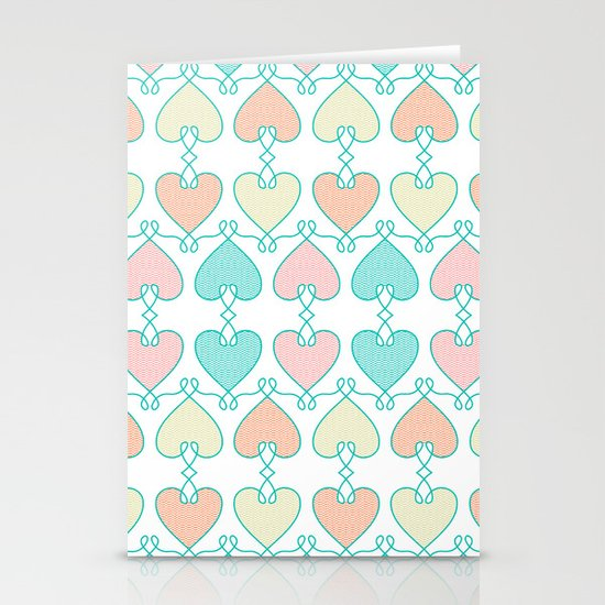 Hearts on the line Stationery Cards