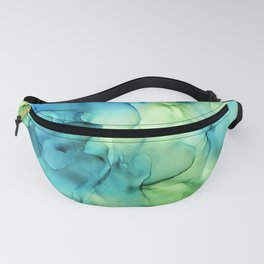 Blue Green Spring Marble Abstract Ink Painting Fanny Pack
