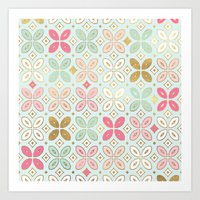 moroccan Art Prints featuring MOROCCAN TILE by Monika Strigel