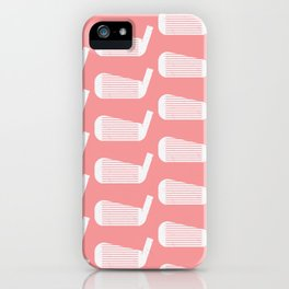Golf Club Head Vintage Pattern (Pink/White) iPhone Case