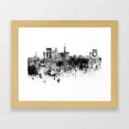 Jeddah skyline in black watercolor Framed Art Print