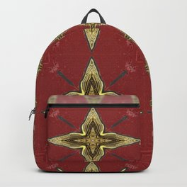 Gold Four-Pointed Nautical Star on Vivid Auburn / Red Background Backpack