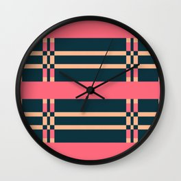 RIZZO hot pink striped pattern on navy Wall Clock